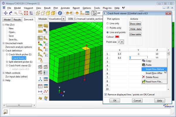 Zencrack ~ Finite element interface to Abaqus